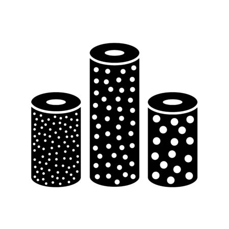 Sandpaper roll flat icon. Black & white illustration of sanding abrasive paper. Glasspaper flexible cloth with grain texture. Isolated object Illustration