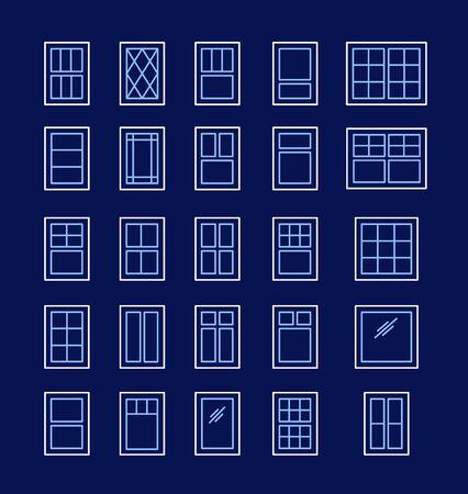 Fenêtres à battants et à auvent. Éléments architecturaux. Icônes de ligne isolées sur fond sombre. Châssis de fenêtre traditionnels et français