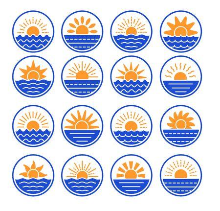 Sunrise over sea, ocean. Sunset over lake, river. Summer round labels, emblems with sun & waves. Set of flat symbols, signs for travel & tourism. Colorful vector illustration