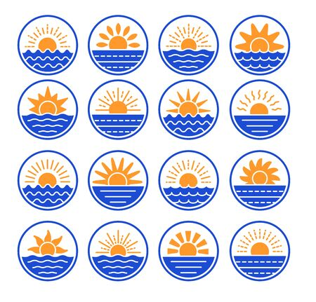 Sunrise over sea, ocean. Sunset over lake, river. Summer round labels, emblems with sun & waves. Set of flat symbols, signs for travel & tourism. Colorful vector illustration