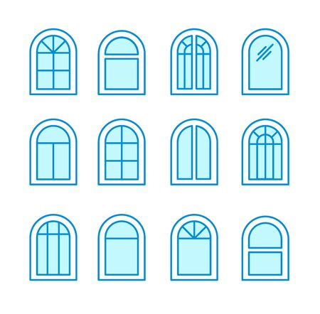 Arch & arched window. Casement & awning window frames. Flat line icon set. Vector illustration. Isolated objects on white background