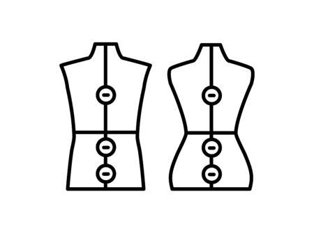 Male & female dressmaking adjustable mannequin. Sign of tailor dummy. Display body, torso. Professional dress form. Line icon. Black & white vector illustration