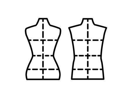 Male & female dressmaking mannequin with sewing markings. Sign of tailor dummy. Display body, torso. Professional dress form. Line icon. Black & white vector illustration