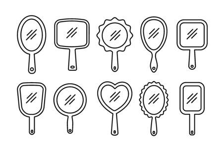 Hand mirrors with light reflection. Blank handheld makeup mirrors. Line icon set. Female beauty accessories. Isolated objects on white background