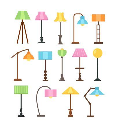 Nowoczesne lampy stojące z żarówkami led. Abażury stojące. Oprawy oświetleniowe akcentujące do domu. Wektor zestaw ikon płaski. Pojedyncze obiekty na białym tle