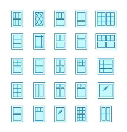 Casement & awning windows. Architecture elements. Line flat icons isolated on white background. Traditional & french window frames Illustration