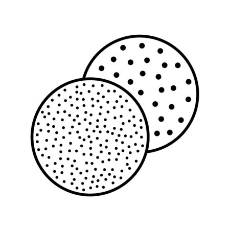 Sandpaper disc line icon. Black & white illustration of sanding abrasive paper. Round glasspaper with grain texture. Isolated object