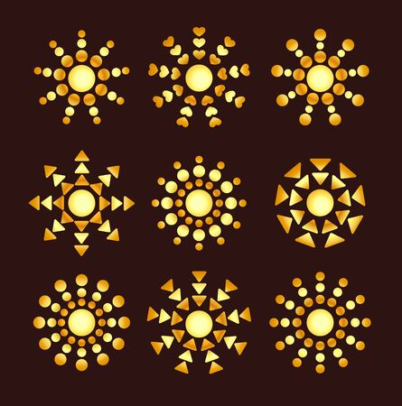 Golden ethnic sun icons with rays from circles & triangles. Gold summer symbols with gradient. Line sunlight signs isolated on dark background. Vector illustration