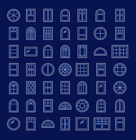 Casement & awning windows. Architecture elements. Line icons isolated on dark background. Traditional, french, arch and round window frames Illustration