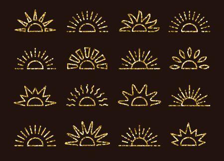 Collection de symboles de lever et de coucher du soleil de paillettes dorées avec une texture de mosaïque en feuille. Icônes vectorielles en ligne mince. Matin, signes de lumière du soleil d'or du soir. Objets isolés sur fond sombre