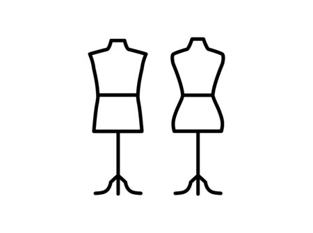 Male & female dressmaking mannequin with tripod base stand. Sign of tailor dummy. Display model, body. Professional dress form. Line icon. Black & white vector illustration Stock Illustratie