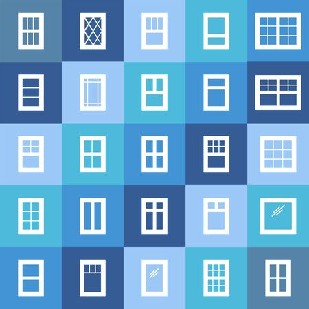 Casement & awning windows. Architecture elements. White flat icons isolated on colorful background. Traditional & french window frames