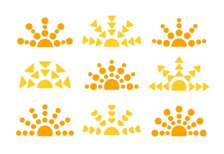 Ethnic sunrise & sunset symbol collection. Flat icon set. Morning, evening sunlight signs. Isolated objects on white background. Vector illustration