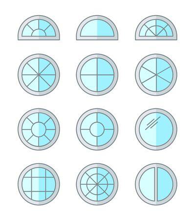 Round & circle window. Casement & awning window frames. Flat line icon set. Vector illustration. Isolated objects on white background