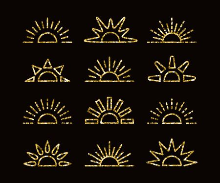 Golden glitter sunrise & sunset symbol collection with foil mosaic texture. Thin line vector icons. Morning, evening gold sunlight signs. Isolated objects on dark background