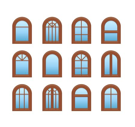 Arched & arch wooden window. Casement & awning window frames. Flat icon set. Vector illustration. Isolated objects on white background