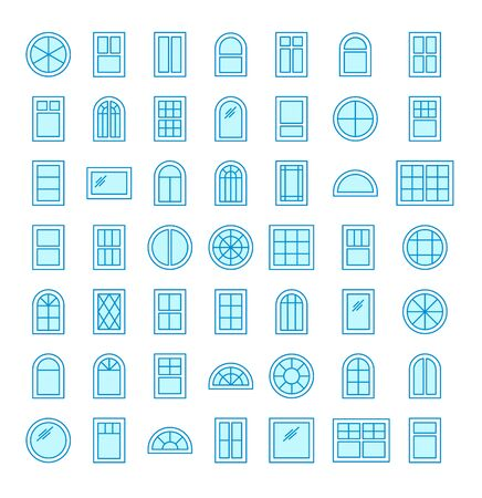 Casement & awning windows. Architecture elements. Line flat icons isolated on white background. Traditional, french, arch and round window frames