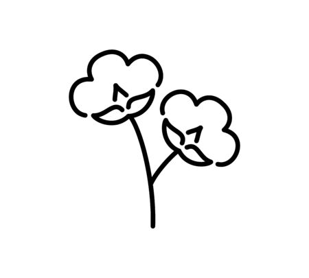 Cotton branch with 2 flowers & balls. Symbol, logo of natural eco organic textile, fabric. Line icon isolated on white background. Vector illustration