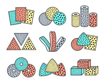 Sandpaper sheets, discs, rolls, triangles. Colorful vector illustration of sanding abrasive paper with assorted grit. Flat line icon set of glasspaper. Isolated objects on white background