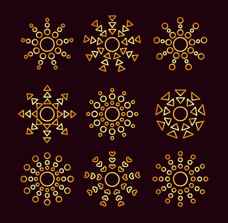 Golden ethnic sun icons with different geometric rays. Gold summer symbols with gradient. Line sunlight signs isolated on dark background. Vector illustration Stock Illustratie