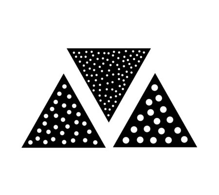 Sandpaper triangle flat icon. Black & white illustration of sanding abrasive paper with grit texture. Glasspaper pads. Isolated objects Illustration