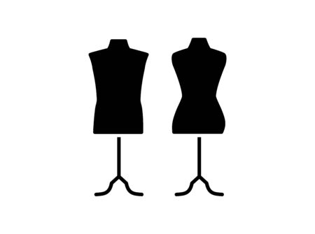 Male & female dressmaking mannequin with base stand. Sign of tailor dummy. Display model, body. Professional dress form. Flat icon. Black & white vector illustration