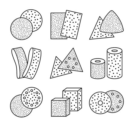 Sandpaper sheets, discs, rolls, triangles. Black & white vector illustration of sanding abrasive paper. Line icon set of glasspapers with assorted grit texture. Isolated objects