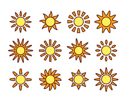 Sun icons with different rays. Summer symbols with gradient. Line flat sunlight signs isolated on white background. Vector illustration Stock Illustratie