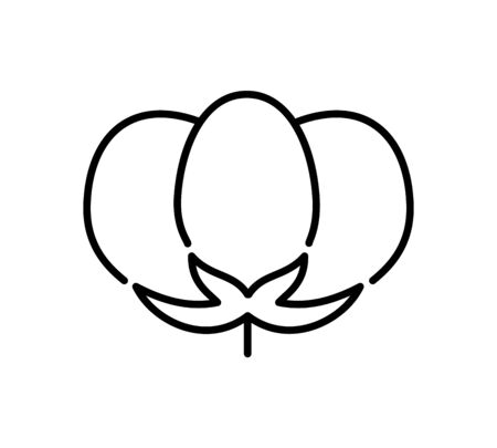 Cotton flower & ball. Symbol, logo of natural eco organic textile, fabric. Line icon isolated on white background. Vector illustration Illustration