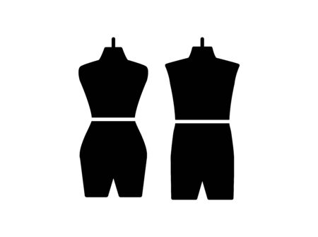 Male & female dressmaking mannequin. Sign of tailor dummy. Display body, torso. Professional dress form. Flat icon. Black & white vector illustration