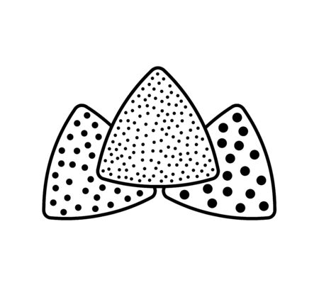 Sandpaper triangle line icon. Black & white illustration of sanding abrasive paper with grit texture. Glasspaper pads. Isolated objects