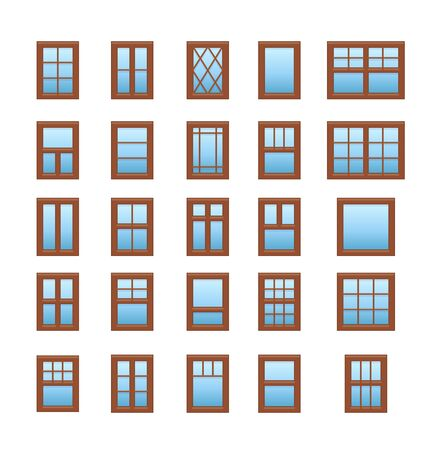 Casement & awning wooden windows. Architecture elements. Flat icons isolated on white background. Traditional & french window frames