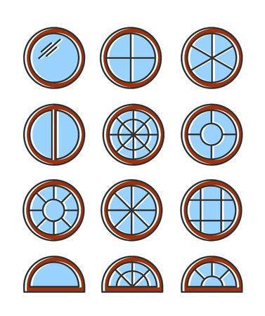 Round & circle wooden window. Casement & awning window frames. Flat line icon set. Vector illustration. Isolated objects on white background