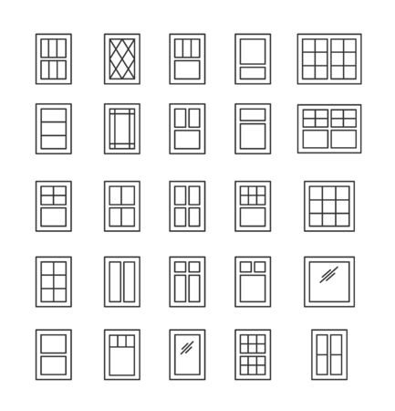 Casement & awning windows. Architecture elements. Line icons isolated on white background. Traditional & french window frames
