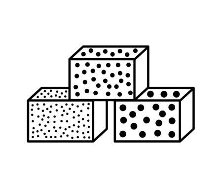 Sandpaper sponge line icon. Black & white illustration of sanding abrasive paper. Glasspaper with grain texture. Isolated object