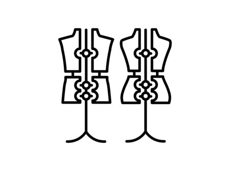 Male & female dressmaking adjustable mannequin with base stand. Sign of tailor dummy. Display body, torso. Professional dress form. Line icon. Black & white vector illustration