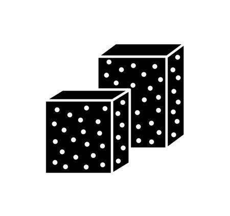 Sandpaper sponge flat icon. Black & white illustration of sanding abrasive paper. Glasspaper blocks with grain texture. Isolated object