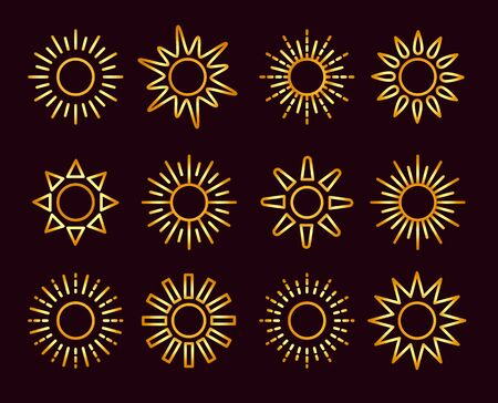 Golden sun icons with different rays. Gold summer symbols with gradient. Line sunlight signs isolated on dark background. Vector illustration