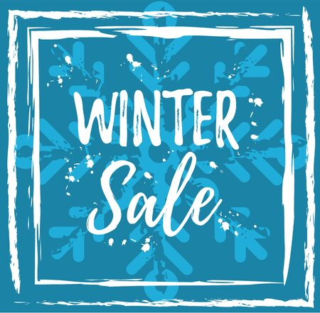 Winter sale banner template. Blue vector illustration of season clearance sale offer. Grunge paint flyer poster background with snowflake