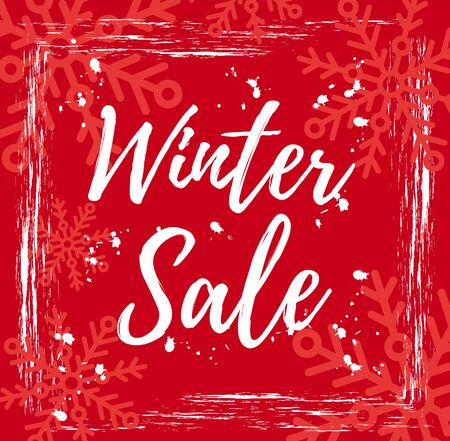Winter sale banner template. Red vector illustration of season clearance sale offer. Grunge paint flyer poster background with snowflakes & text