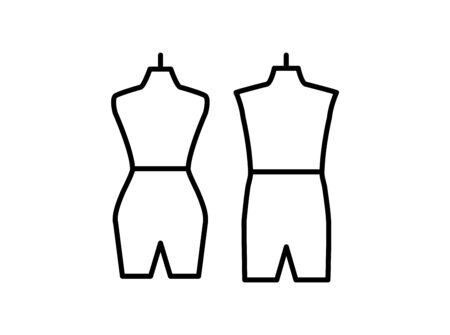 Male & female dressmaking mannequin. Sign of tailor dummy. Display body, torso. Professional dress form. Line icon. Black & white vector illustration Stock Illustratie