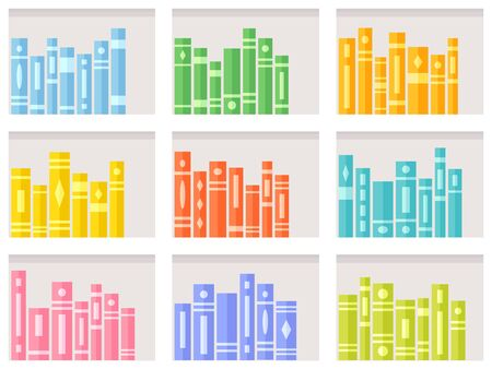 Seamless pattern with books on modern white shelves. Bookcase repeating background for online library or bookstore. Flat vector illustration