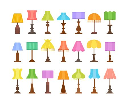 Vintage table lamps with different types of shades & bases. Flat icon set of desk light fixtures. Home antique lighting. Vector illustration. Isolated on white background  イラスト・ベクター素材