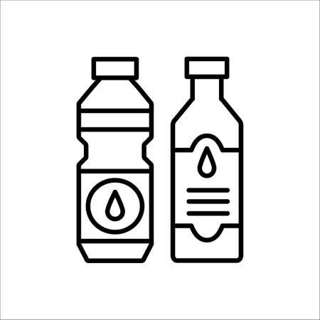 Cooking oil bottle. Vector line icon. Vegetable fat jar. Isolated object on white background. Natural vegetarian food  イラスト・ベクター素材