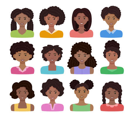 African woman avatar set. Vector illustration. Black happy girls with different hairstyles. Female cartoon icons. Isolated on white background