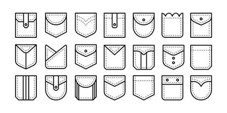 Different types of patch pockets with flap, button and pleat. Men and women shirt, jean pockets. Casual garment. Line icon set. Vector illustration. Isolated objects on white background