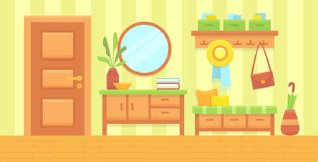 Summer sunny hall interior. Cozy home hallway with door, mirror and modern furniture. House entrance background. Flat colorful vector illustration.