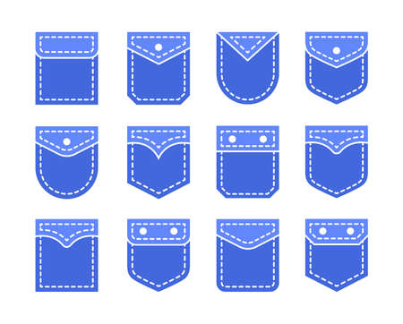 Different shapes of simple flap pockets with button and top stitching. Men and women shirt, jean patch pockets. Casual garment. Flat icon set. Vector illustration. Isolated objects on white background Ilustracja