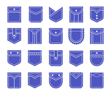 Flat pockets with flap and button closure. Different shapes of shirt and jean patch pockets. Casual garment. Icon set. Vector illustration. Isolated objects on white background