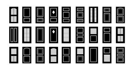 Outdoor window wooden shutters. Flat icon set. Old french window blinds for house and cottage. Exterior decorative elements. Isolated objects on white background